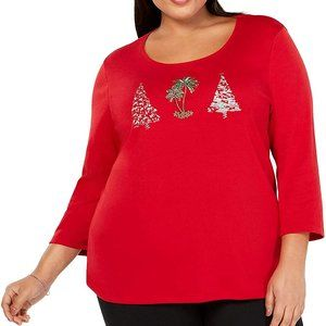 !!~ Red Tree Embellished Holiday Pullover Top ~!!